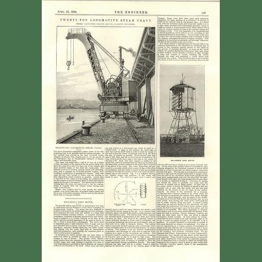 1894 Rollason Wind Motor 20 Ton Locomotive Steam Crane Alexander Chaplin Glasgow