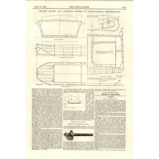 1894 Croom And Arthur's System Of Longitudinal Shipbuilding Tj Syer Carpenter Gauge