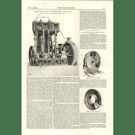 1894 Centrifugal Pumping Engine Drysdale Glasgow