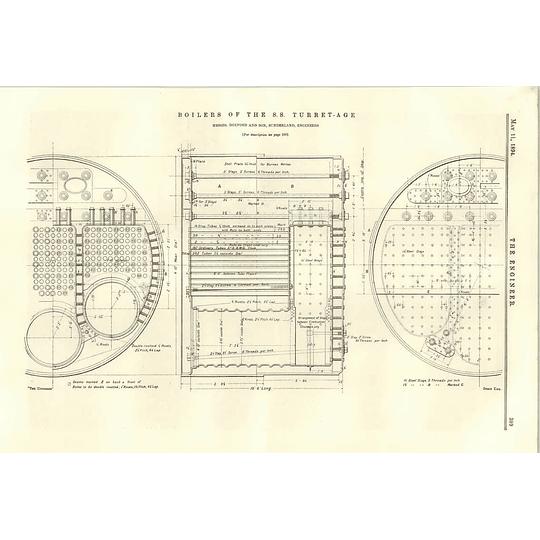 1894 Boilers Of The Ss Turret Age Sunderland Pallion Cross-section Plan