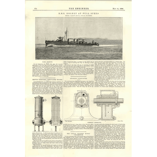 1894 Hms Hornet At Full Speed Brown Berryman Heater Straker Lubricater