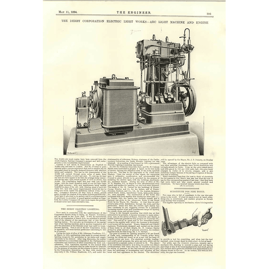 1894 Derby Corporation Electric Light Machine And Engine Pipe Tong Substitute