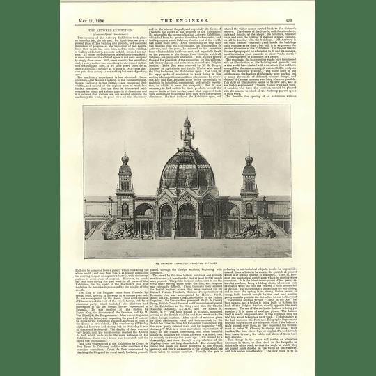 1894 The Antwerp Exhibition Principal Entrance