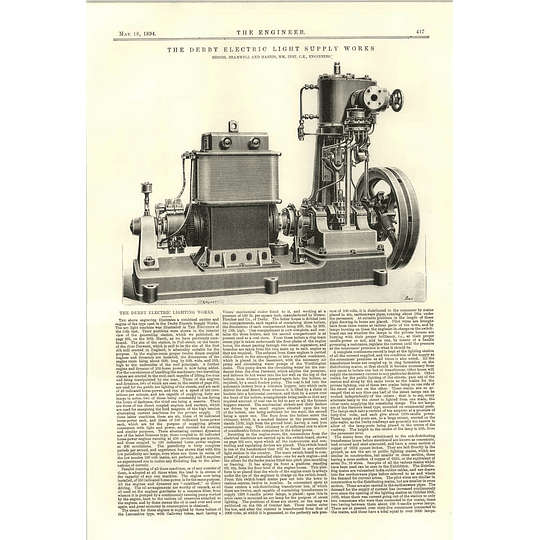1894 The Derby Electric Lighting Works Illustration Engines