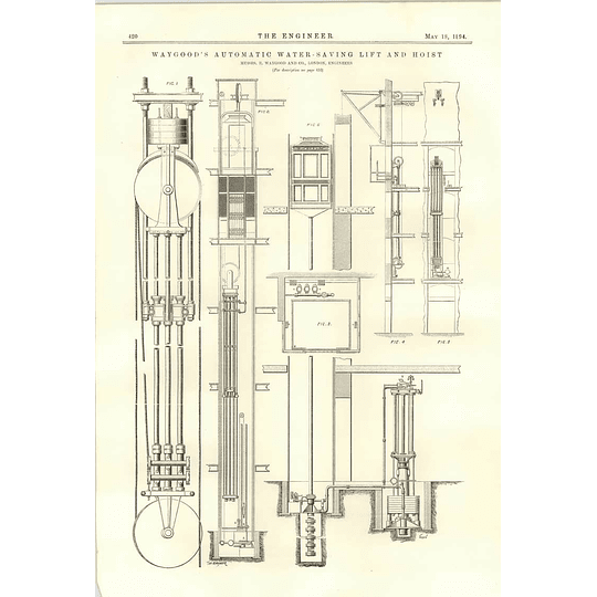 1894 Waygood Automatic Water-saving Lift And Hoist Diagram Section