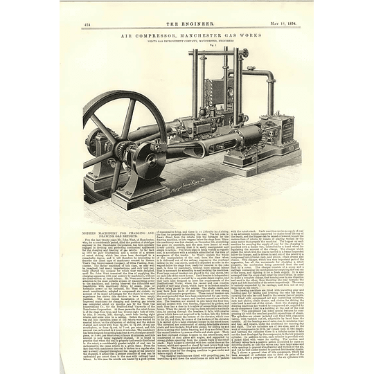 1894 Modern Machinery For Charging And Drawing Gas Retorts