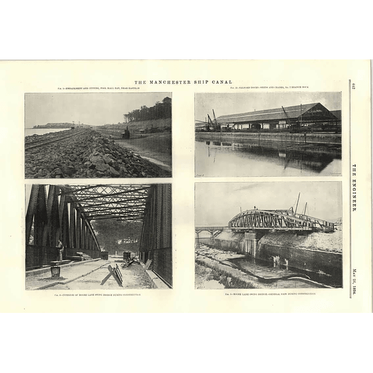 1894 Manchester Ship Canal Moore Lane Swing Bridge River Gowy Syphon