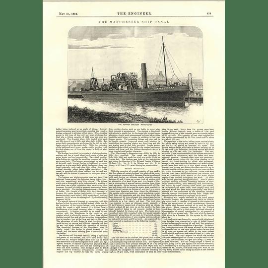 1894 Hopper Dredger Manchester Ship Canal Detailed Section Plans