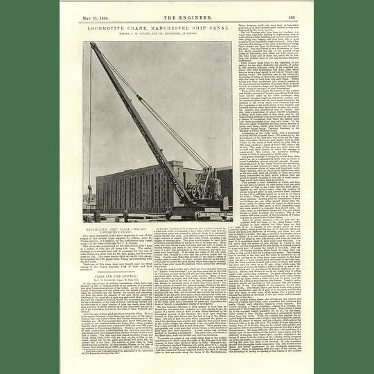 1894 Wilson Locomotive Crane Liverpool For Manchester Ship Canal Piledriving
