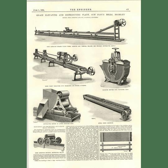 1894 Sun Flour Mills Bromley Distributing Plant Conveyor Belts Measuring Mixing Machine