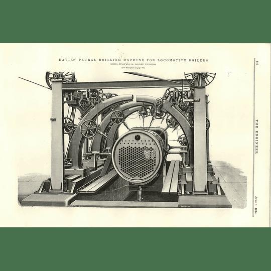 1894 Davies Plural Drilling Machine For Locomotive Boilers