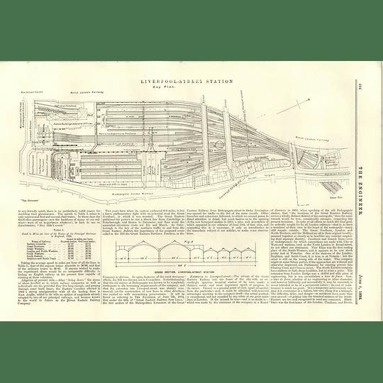 1894 Liverpool Street Station Key Plan Cross-section Enlargement