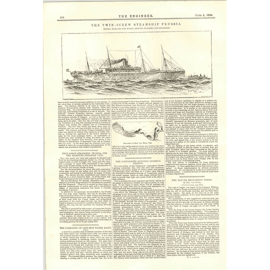 1894 Twin Screw Steamship Prussia Harland And Wolff United States Defends Theft
