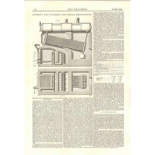 1894 Taylor's Gas Furnace for Steam generators