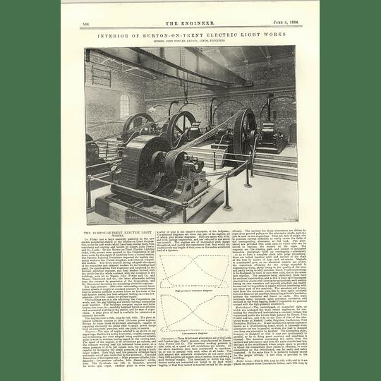 1894 Burton On Trent Electric Light Works Interior