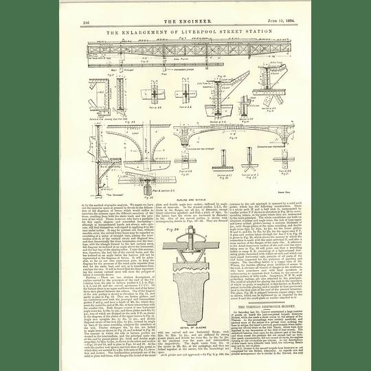 1894 Roof Trusses Details Liverpool Street Station Enlargement Glazing