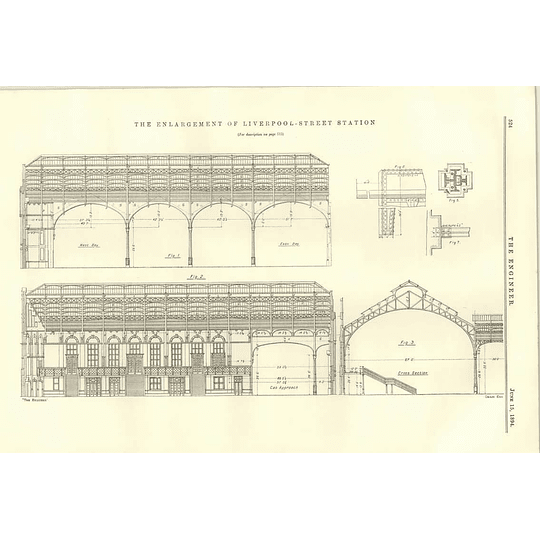 1894 Enlargement Of Liverpool Street Station Diagram Plan