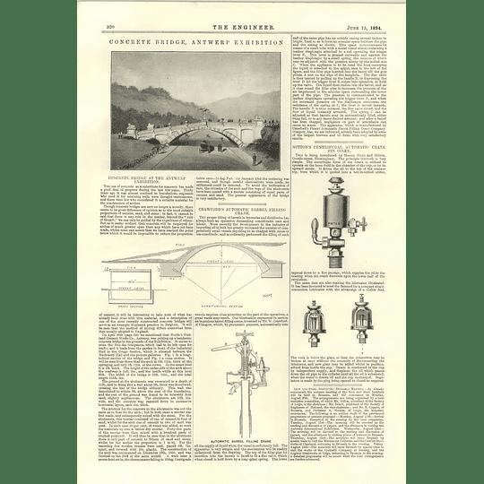 1894 Concrete Bridge Antwerp Exhibition Crawford Automatic Barrel Filling Crane