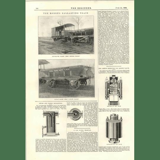 1894 Rodger Ballasting Train Gas Motor Tramcar Ashton Pop Safety Valve
