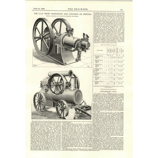 1894 Stationery And Portable Oil Engines Fielding Platt Gloucester