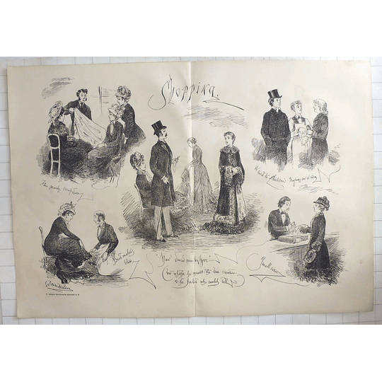 1879 Dower Wilson Sketches, Shopping Characters