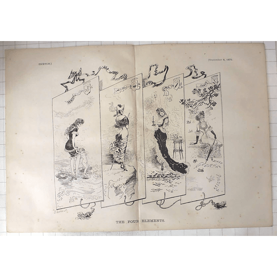 1879 J Leich & Co Sketch Of The 4 Elements Water Air Fire And Earth