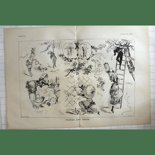 1879 J Leich & Co Sketch Fairies And Fruit Walnuts Cherries Hazelnuts Women