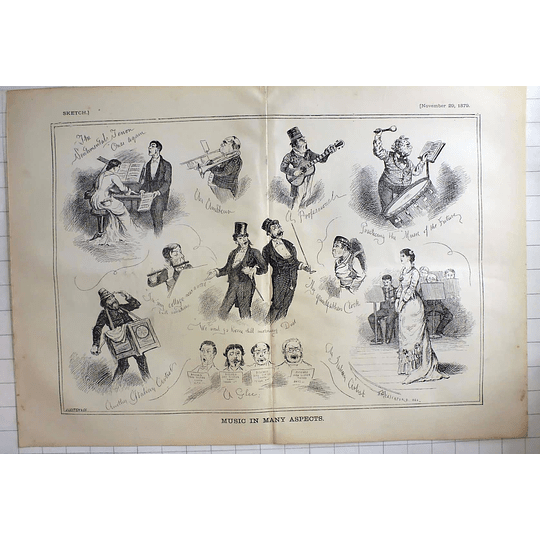 1879 J Leich & Co Sketches Many Aspects Of Music, Humorous Cartoon