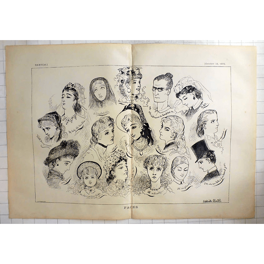 1879 Adelaide Claxton Art Sketches Women's Faces