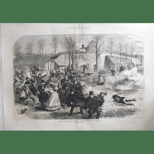 1871 Prussian Shells Falling Inside Paris Near Mont Parnasse Cemetery