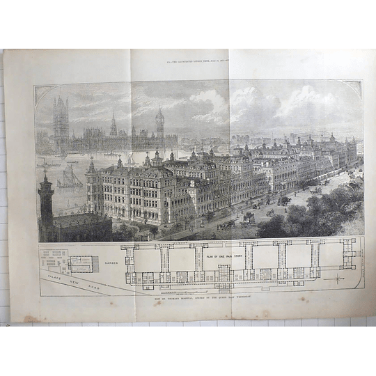1871 New St Thomas's Hospital, Birds Eye View, Plan, Opened By Queen