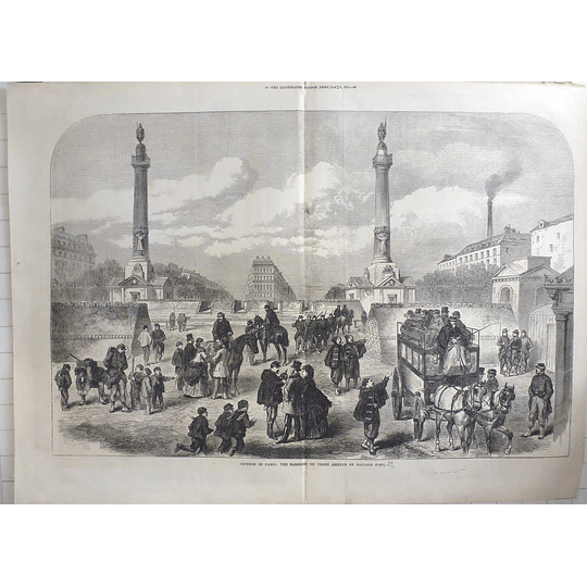 1871 Defense Of Paris, Barriere De Trone, Sketch By Balloon Post