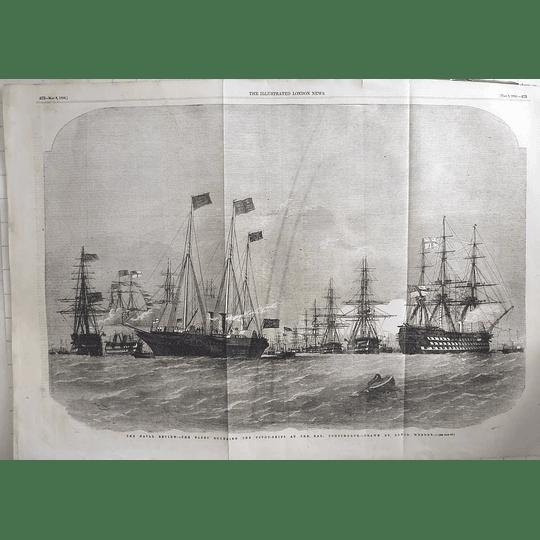 1856 Fleet Rounding Pivot Ships At The Nab, Portsmouth