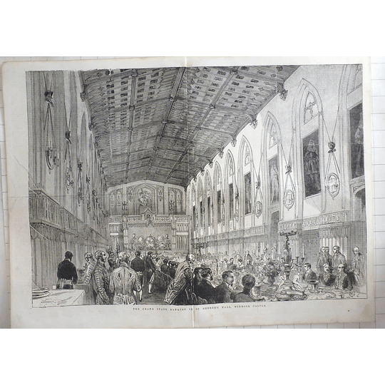 1855 Grand State Banquet St. George's Hall Windsor Castle