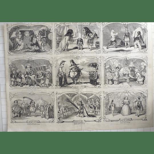 1853 Charming Cartoon Work Of The Pantomimes, Olympic, Sadlers Wells, Haymarket