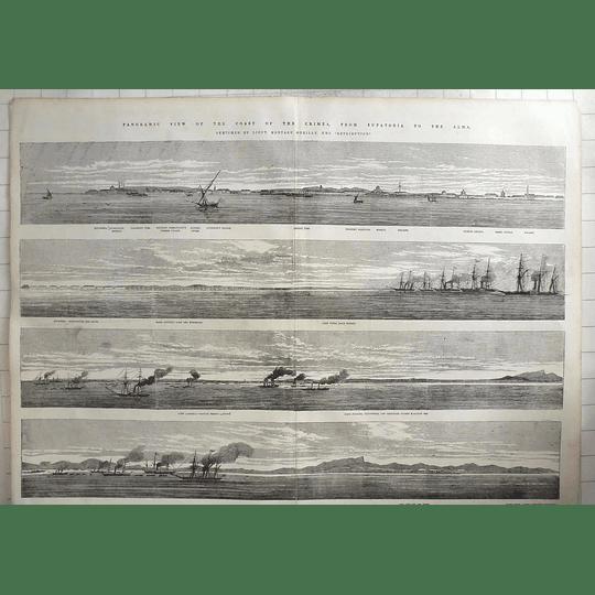 1854 Panoramic View Of Crimea From Yevpatoria To Alma