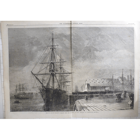 1869 Removal Of Mr Peabody Remains From Railway To Hms Monarch Portsmouth