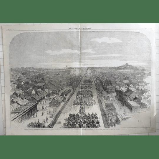 1861 Earl Of Elgin Enters Peking To Sign Treaties Of Peace Birds Eye View Tartar