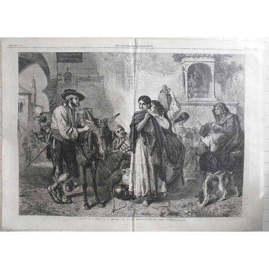 1861 Charming Artwork By J Philip, Gossips At A Well, In Spanish Town