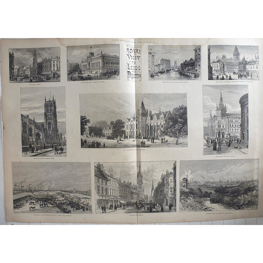 1885 Sketches Of Royal Visit To Leeds And Preston