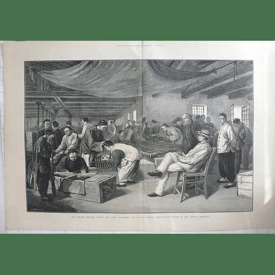 1883 France China Dispute Examining Chinese Rifles At Shanghai Arsenal