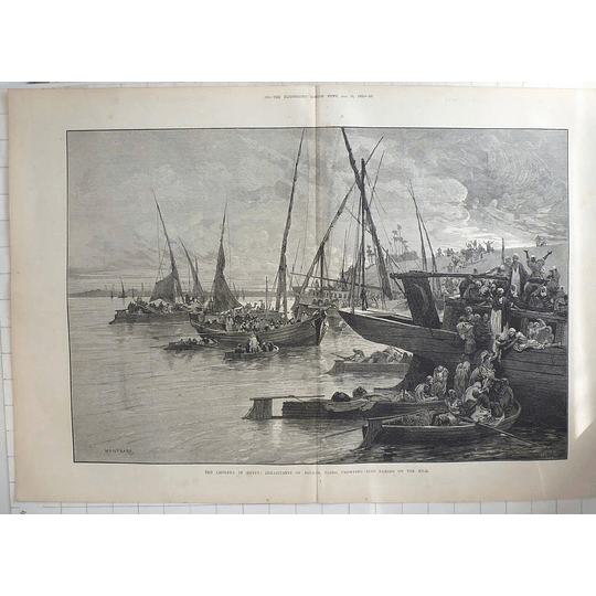 1883 The Cholera In Egypt, Inhabitants Of Cairo Crowding Into Barges On The Nile