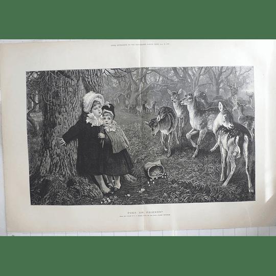 1883 Charming Artwork By Pr Morris, Children Afraid Of Deer