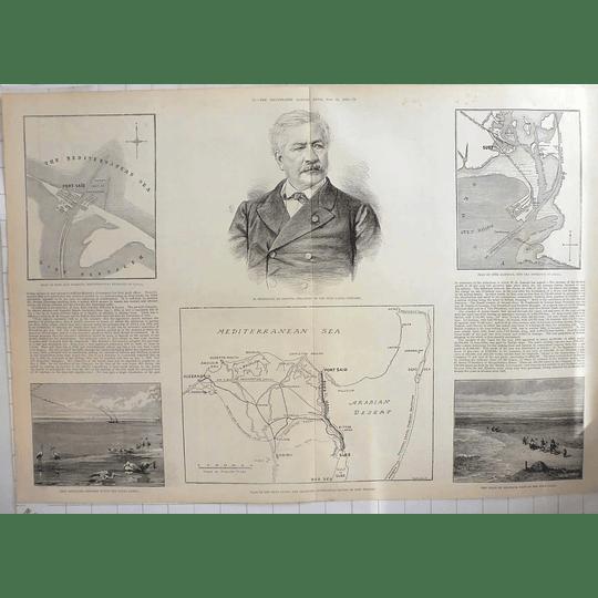1883 Ferdinand De Lesseps With Plan Of Suez Canal