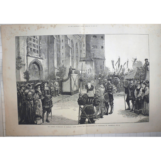 1883 Luther Celebration Outside Schloss Kirche Wickenburg