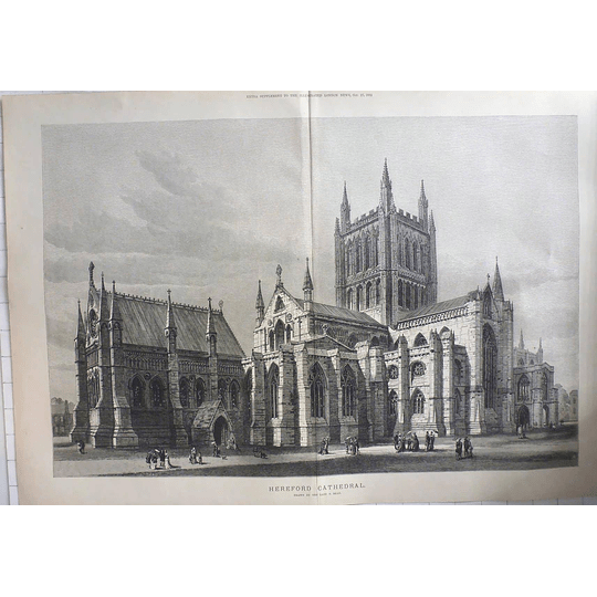 1883 Hereford Cathedral Drawn By The Late S Resd