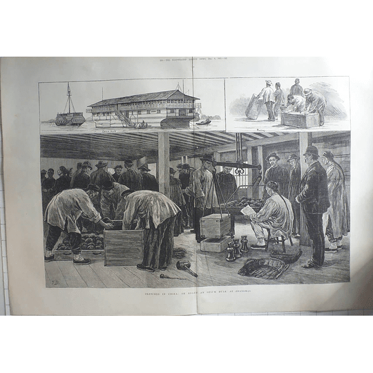 1883 Sketches In China On-board An Opium Hulk At Shanghai