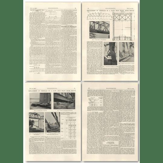 1927 Replacement Of Verticals In 216 Foot Span Pratt Truss Bridge River Mahi