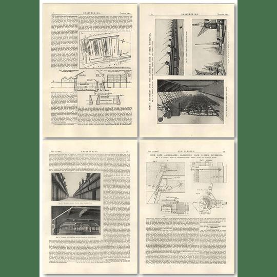 1927 Gladstone Dock System Liverpool Cranes, Locks, Anchorage