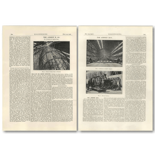 1927 The Airship R100, Buit Howden Yorkshire, Obituary Henry Edmunds
